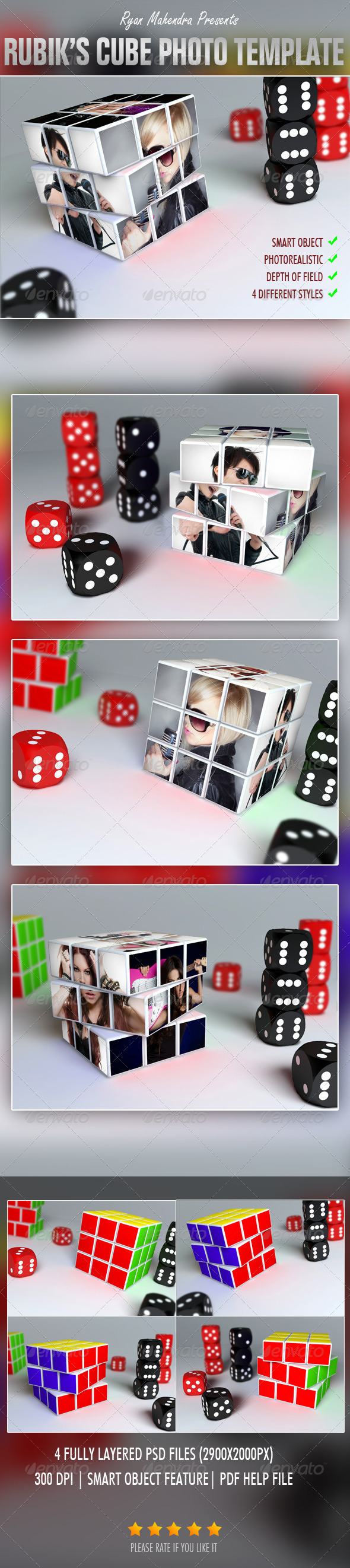 Rubik's Cube Photo Template - Photo Templates Graphics
