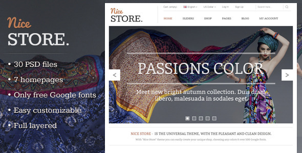 ThemeForest Nice Store eCommerce PSD Template 3309918