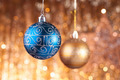 Blue and gold christmas baubles - PhotoDune Item for Sale