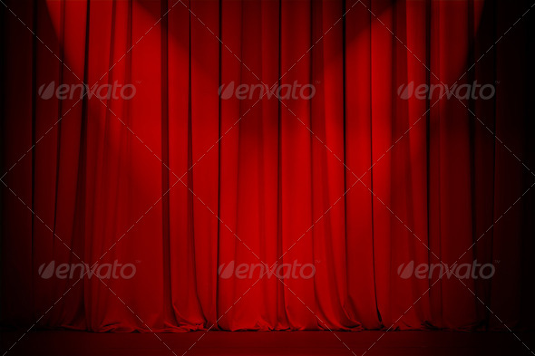PhotoDune theatre red curtain with two lights cross 2176551