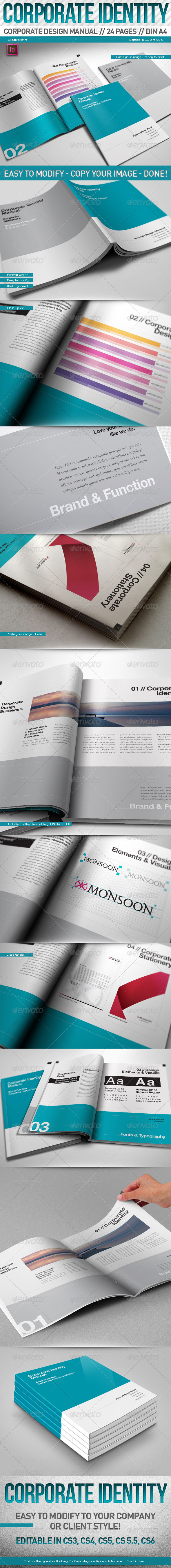 Corporate Design Manual Guide DIN A4 24 Pages