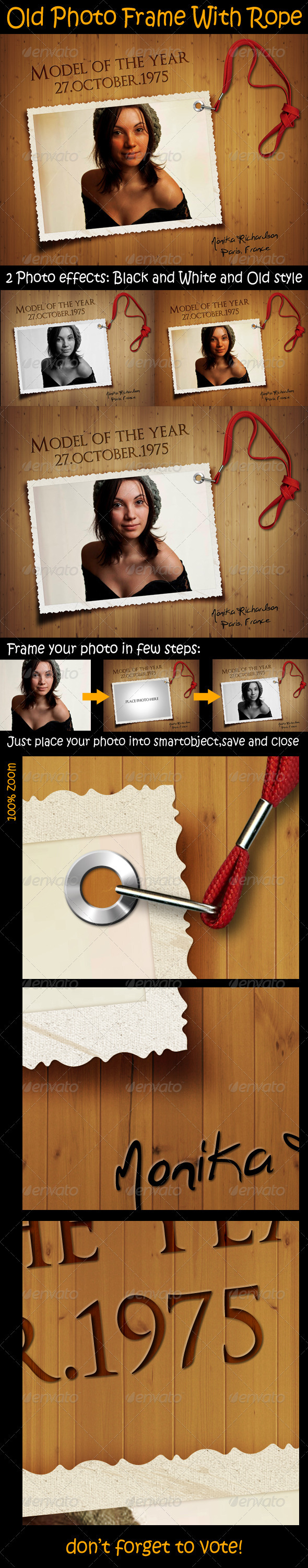 GraphicRiver Old Photo Frame With Rope 3310117
