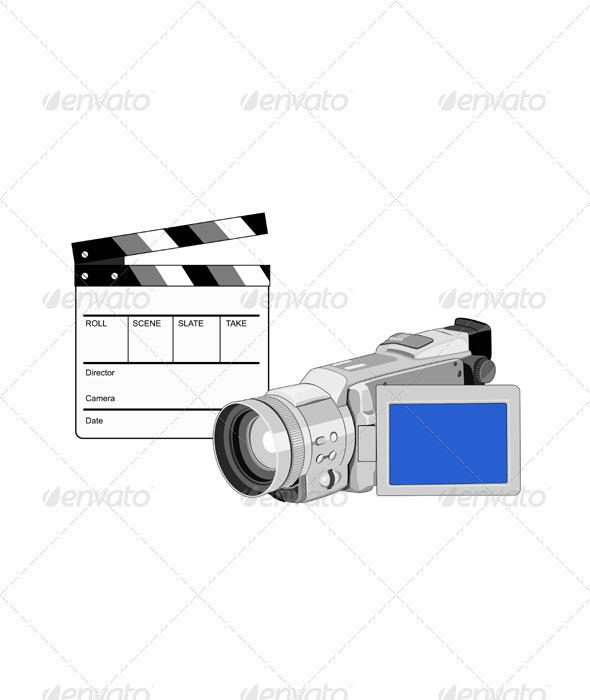 GraphicRiver Video Camera Movie Clapboard Retro 3310381