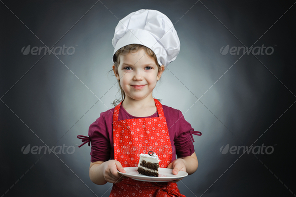 Girl with a cake - Stock Photo - Images