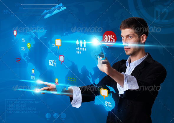 Man pressing modern touch screen buttons - Stock Photo - Images
