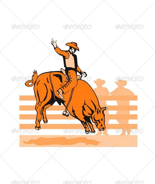GraphicRiver Rodeo Cowboy Bull Riding Retro 3310480