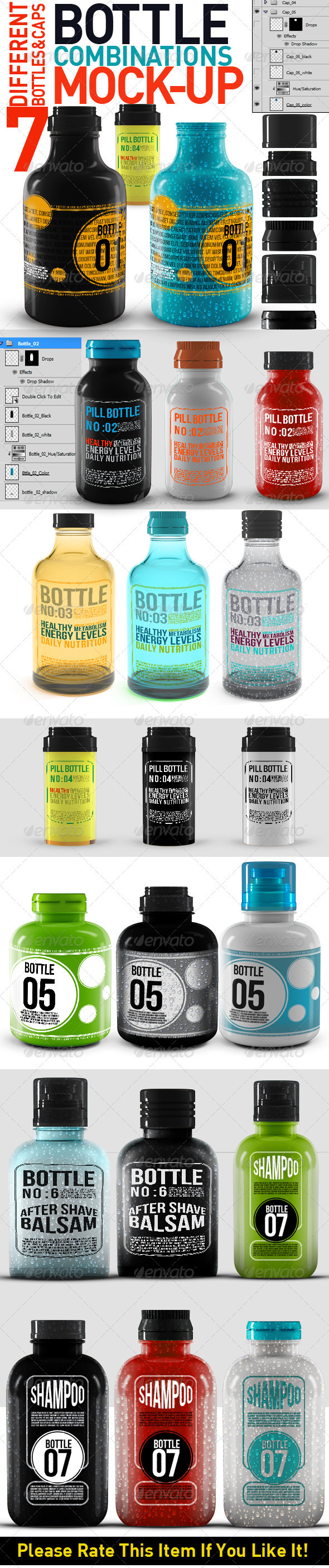 GraphicRiver Bottle Combinations Mock Up 3310530