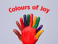 Colorful happy finger smileys with colours of joy sign