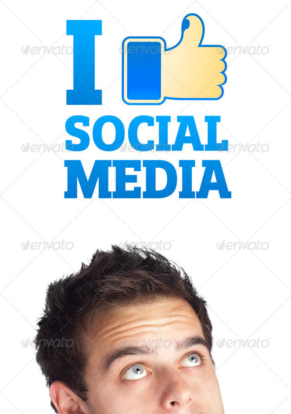 Young head looking at social type of icons and signs - Stock Photo - Images