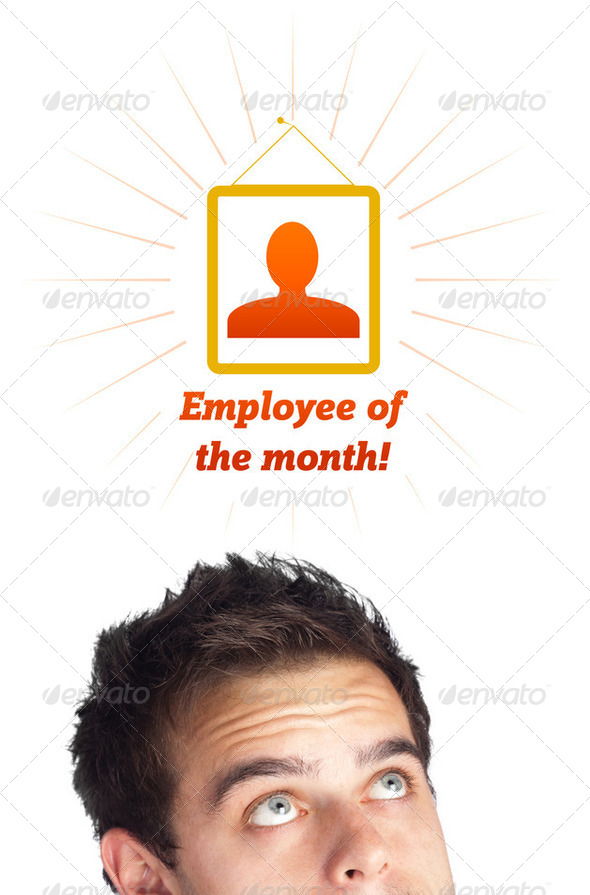 Young head looking at labor type of icons - Stock Photo - Images