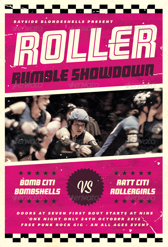 GraphicRiver Roller Rumble Roller Derby Flyer Template 3313225