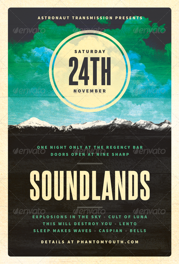 GraphicRiver Sound Lands Post-Rock Flyer Template 3313389