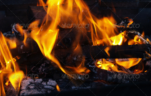 Flames and Embers - Stock Photo - Images