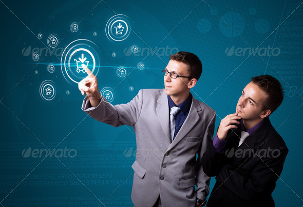 Businessman pressing virtual promotion and shipping type of icon - Stock Photo - Images