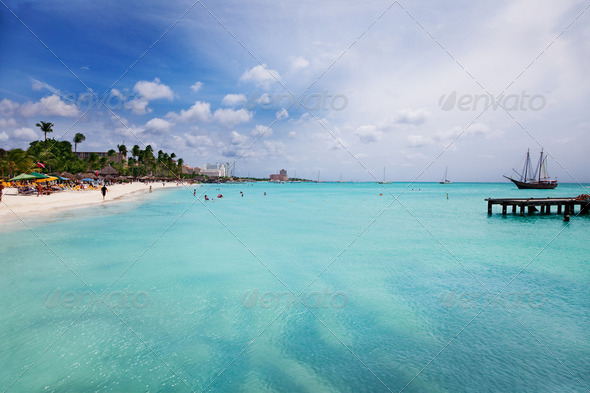 Palm Beach, Aruba - Stock Photo - Images