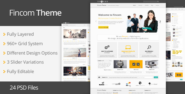 Fincom – Business PSD Template  - Business Corporate