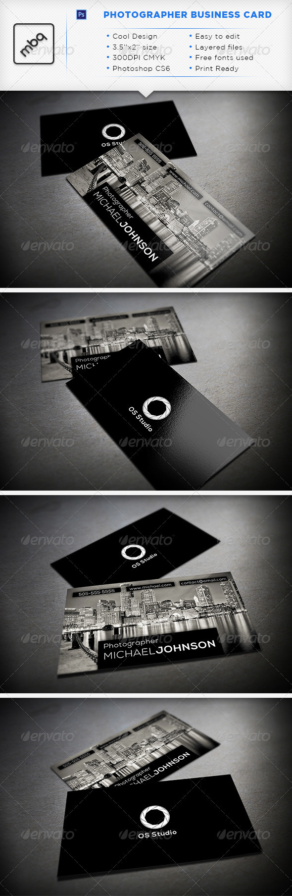 GraphicRiver Photographer Business Card 3314674
