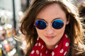 Beautiful woman wearing round sun glasses - PhotoDune Item for Sale