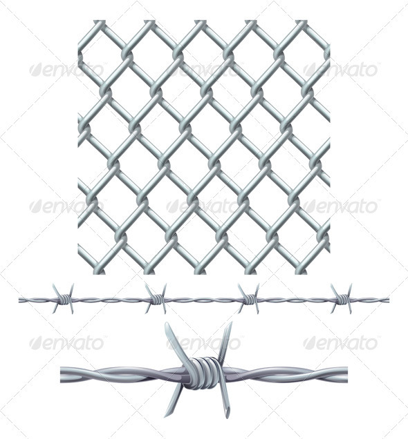 GraphicRiver Seamless Tiling Fence and Barbed Wire 3295645