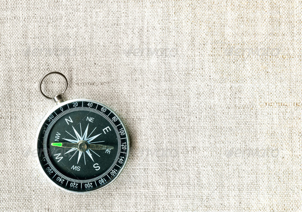 Compass on canvas - Stock Photo - Images