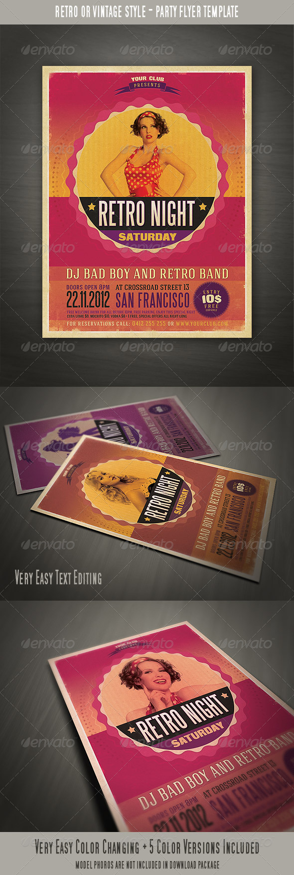 GraphicRiver Retro Style Party Flyer 3295283