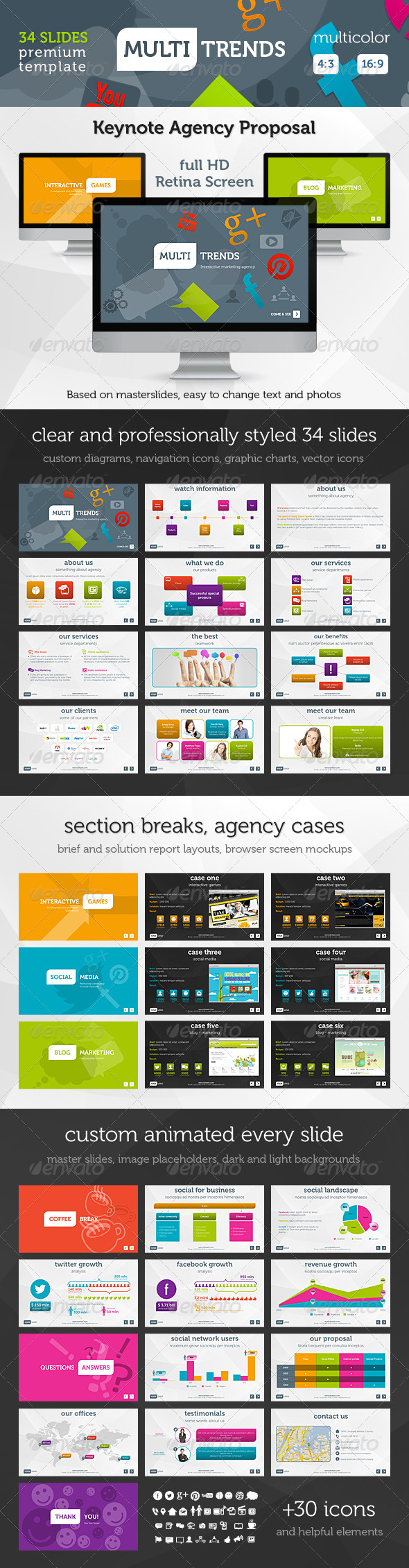 Multi Trends Keynote Presentation Template - Keynote Templates Presentation Templates