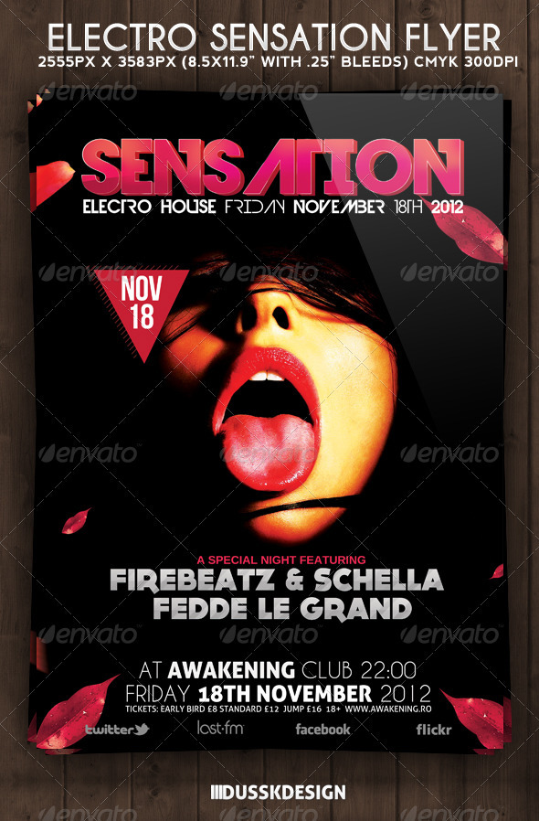 Electro Sensation Flyer - Clubs & Parties Events