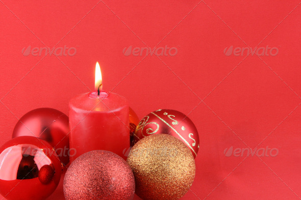 chrismas still life with red candles and balloons - Stock Photo - Images