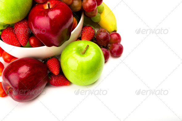 Fresh fruit on plate  Isolated on white - Stock Photo - Images
