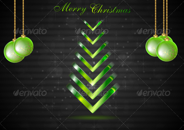GraphicRiver Abstract Christmas fir tree with green balls Vect 3316695