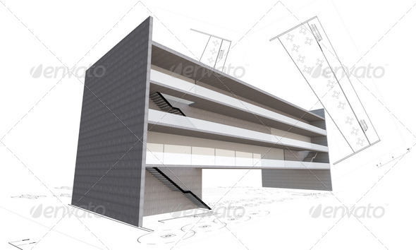 3d illustration of modern building construction concept isolated - Stock Photo - Images