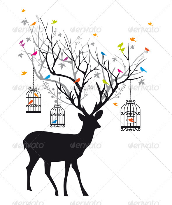 GraphicRiver Deer With Birds And Birdcages Vector 3316810