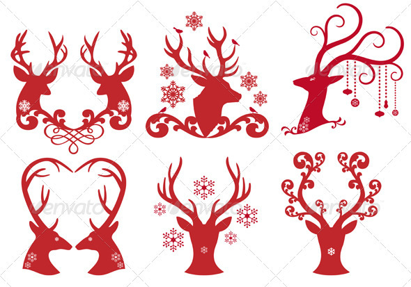 GraphicRiver Christmas Deer Stag Heads Vector 3316817