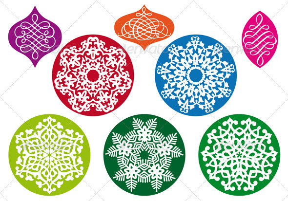 Christmas Balls With Snowflake Pattern, Vector