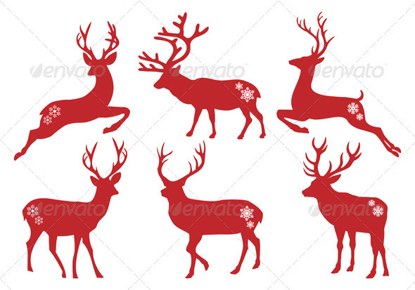 GraphicRiver Christmas Deer Stags Vector Set 3316830
