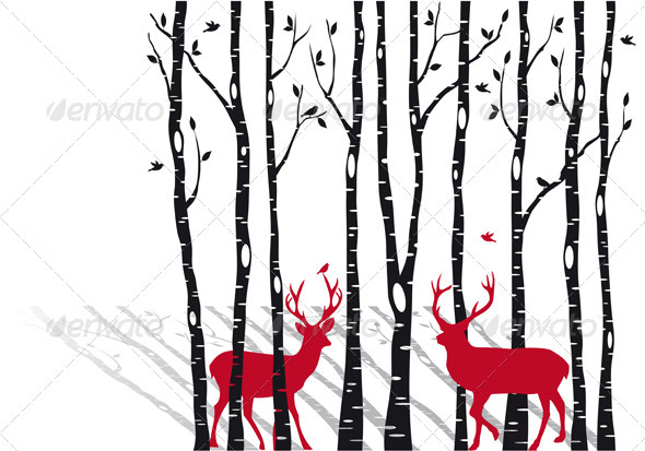 GraphicRiver Birch Trees With Christmas Deers Vector 3316835