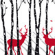 Birch Trees With Christmas Deers, Vector  - GraphicRiver Item for Sale
