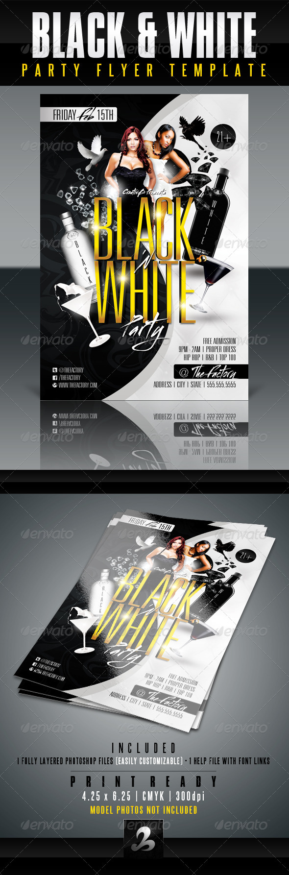 GraphicRiver Black and White Party Flyer Template 3304033