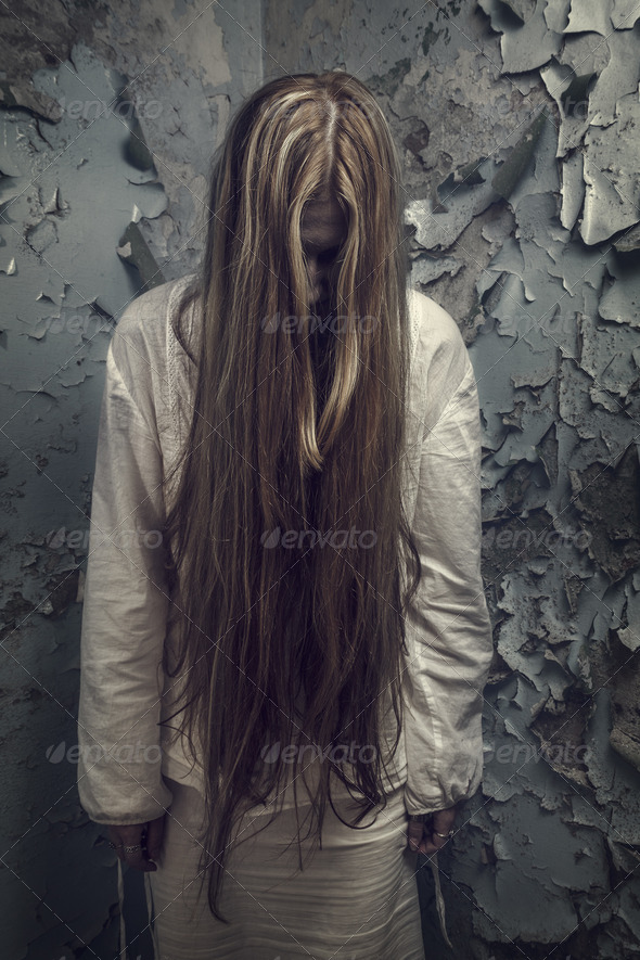 Zombie Girl With Loong Hair In An Abandoned Building - Stock Photo - Images