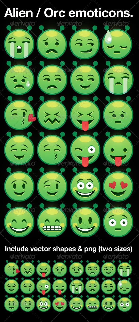 alien / orc smiley emoticons - Monsters Characters