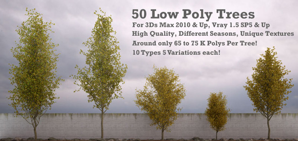 50 Low Poly Trees For 3Ds Max & Vray - 3DOcean Item for Sale
