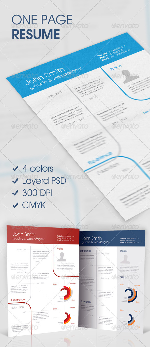 GraphicRiver Clean One-Page Resume 590649