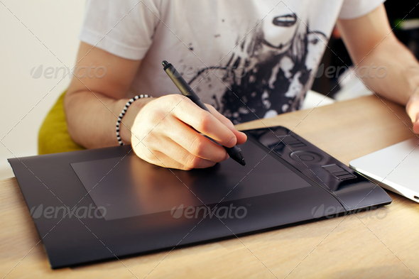 Using Touchpad Graphics Tablet - Stock Photo - Images
