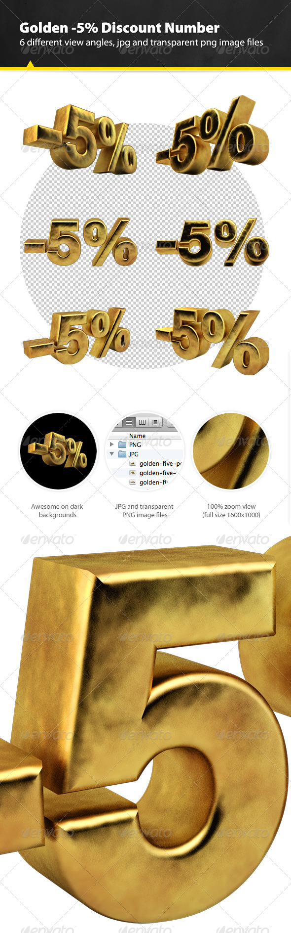 GraphicRiver Golden Five Percent Discount Render 3317403