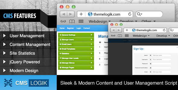 CMSLogik - PHP CMS & User Management - WorldWideScripts.net articolo in vendita