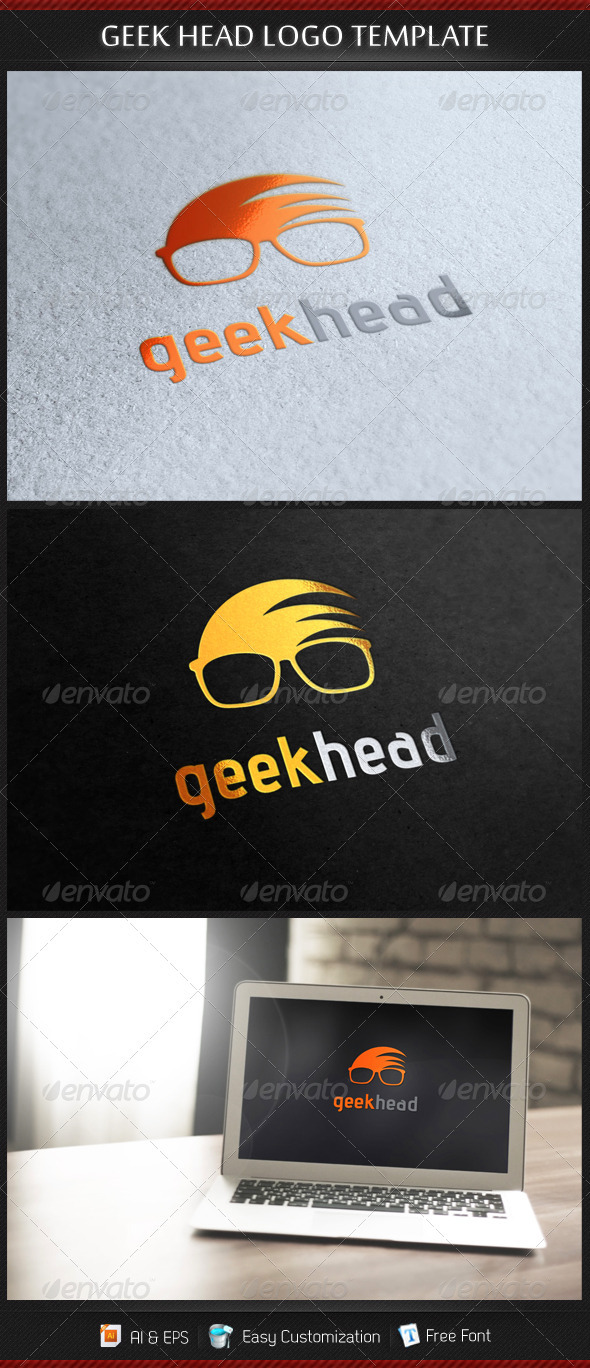 GraphicRiver Geek Head Logo Template 3317737
