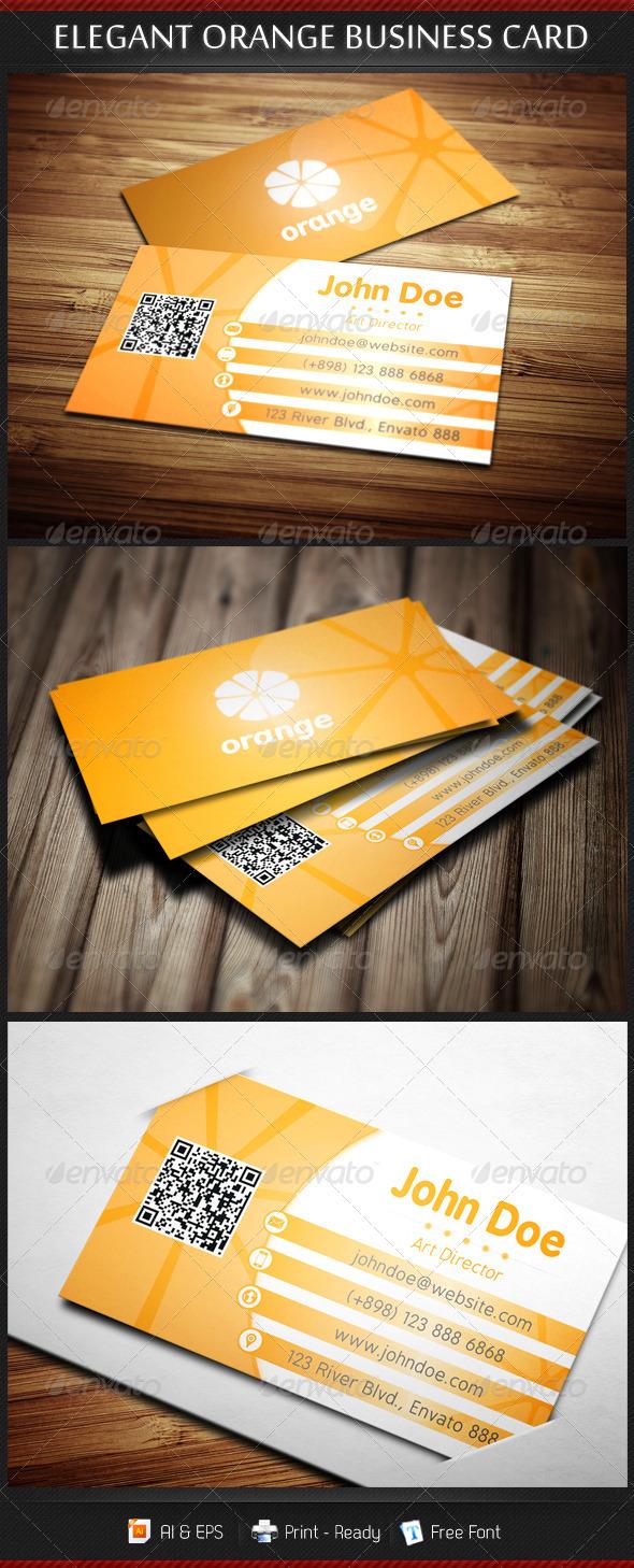 GraphicRiver Elegant Orange Business Card Template 3280344