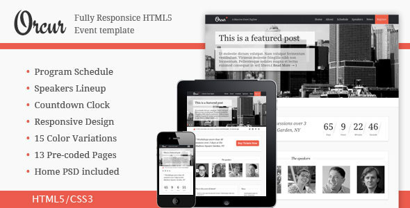 ThemeForest Orcur Multi-purpose event Responsive Template 3303910