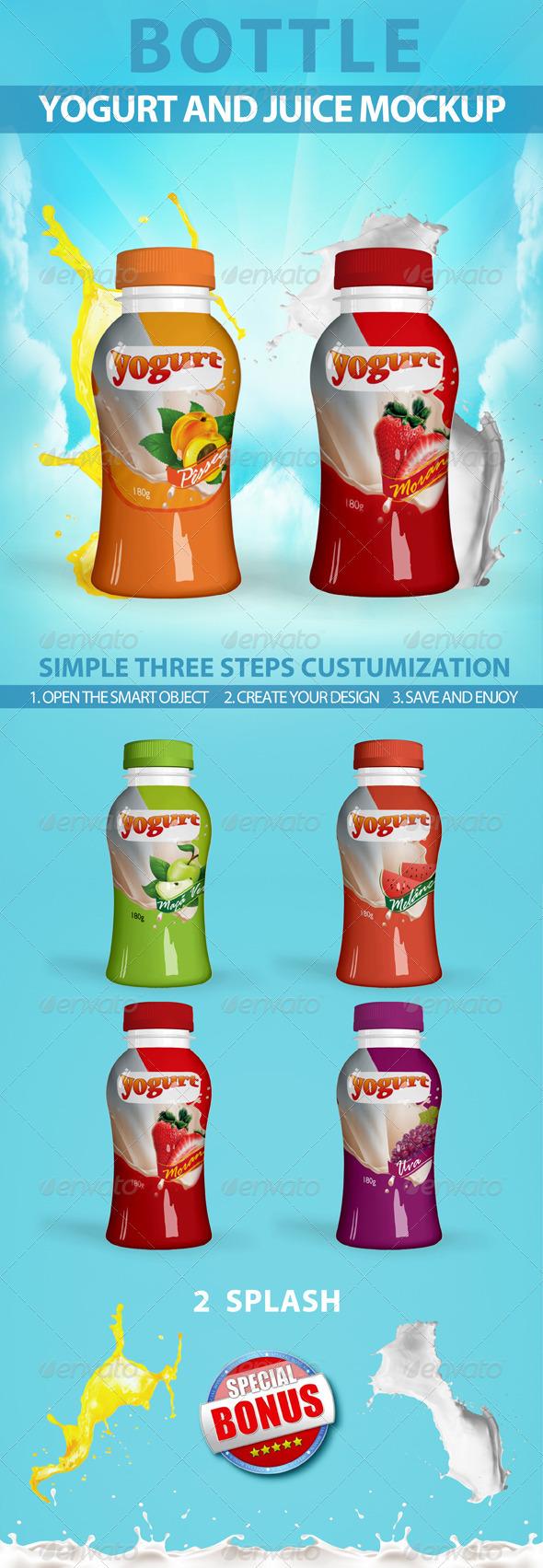 GraphicRiver Yogur Bottle Mockup 3298142