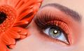 false eyelashes and fashion orange eye make-up - PhotoDune Item for Sale